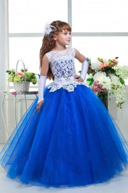 فستانن اطفال سهرة باللون الازرق رائع