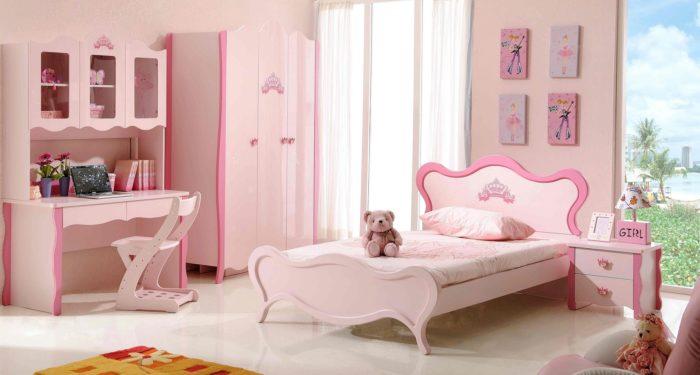 غرفة نوم بنات كاملة تمتاز بالهدوء والرقة