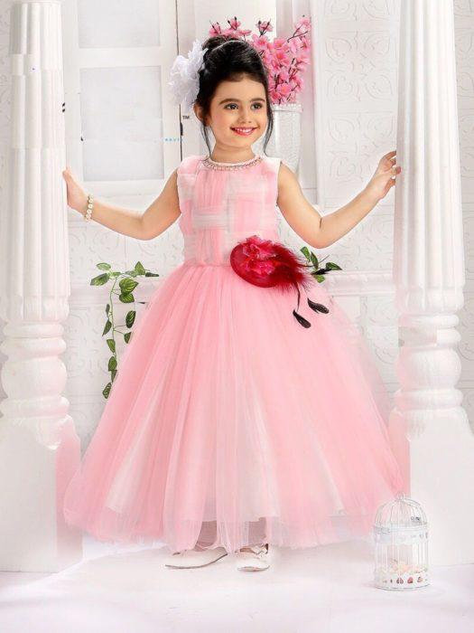 فستان سواريه للاطفال سيمبل وجميل باللون الروز