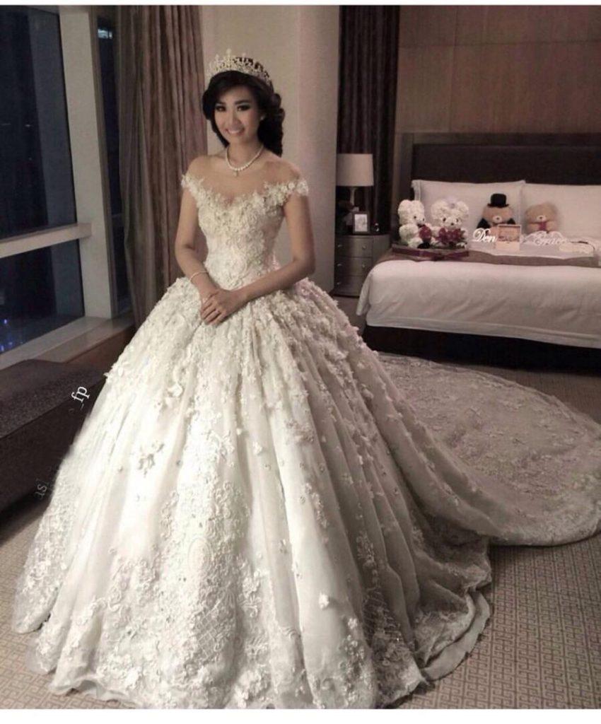 من أجمل تصميمات فساتين زفاف ايلى صعب