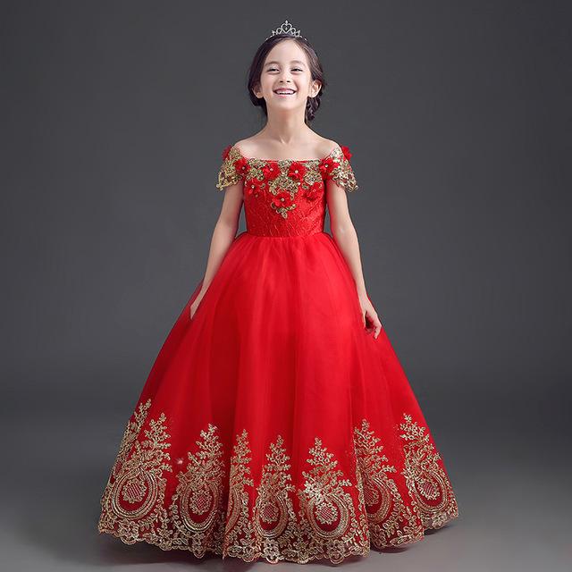 14f786d5f فستان بناتي باللون الأحمر على الطراز الهندي مناسب جداً للمناسبات