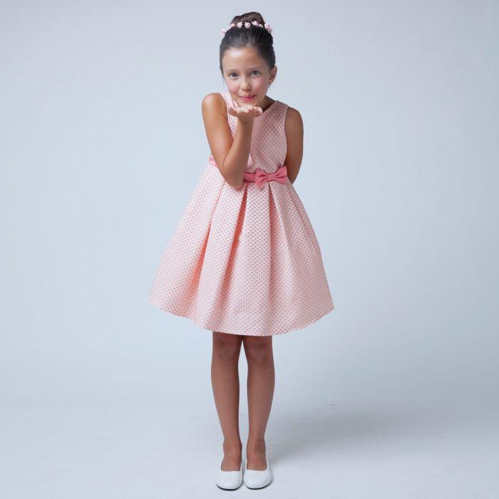 098b591e9 فستان بناتي بكسرات مع فيونكة علي الوسط ناعمة جداً وجميلة