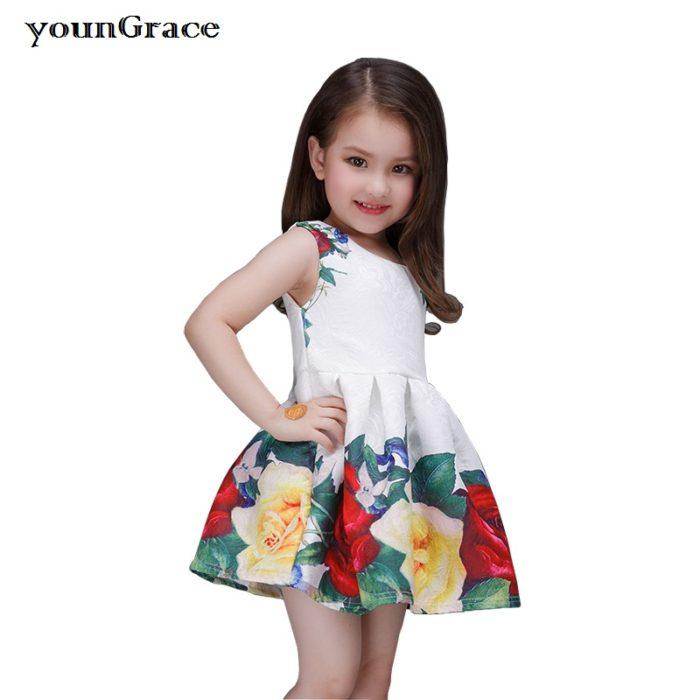 فستان بناتي قصير جداً ومنفوش مزين بالورود