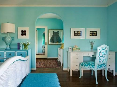 غرف نوم تركواز جميلة جداً وشيك روعة |