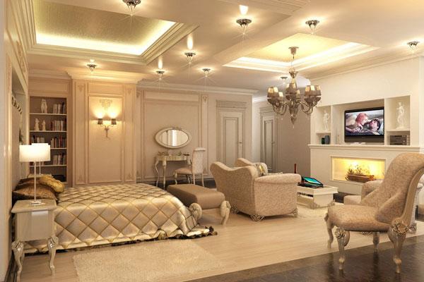 تصميم فخم جداً لأجمل وأحلى غرف نوم باللون البيج