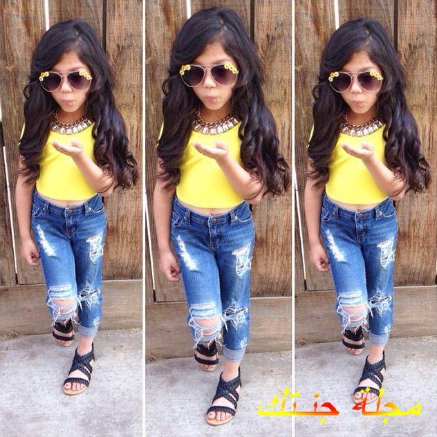طقم بناتي كاجوال مكون من بنطلون جينز مقطع وتيشيرت أصفر