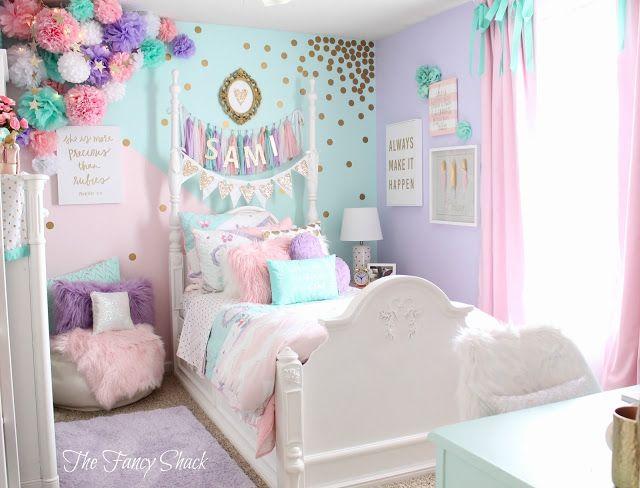 غرة نوم تتميز بالوانها المبهجة وتتكون من سرير بتصميم الانحناء والفرو فى كل مكان يعطي احساس بالرقة والجمال