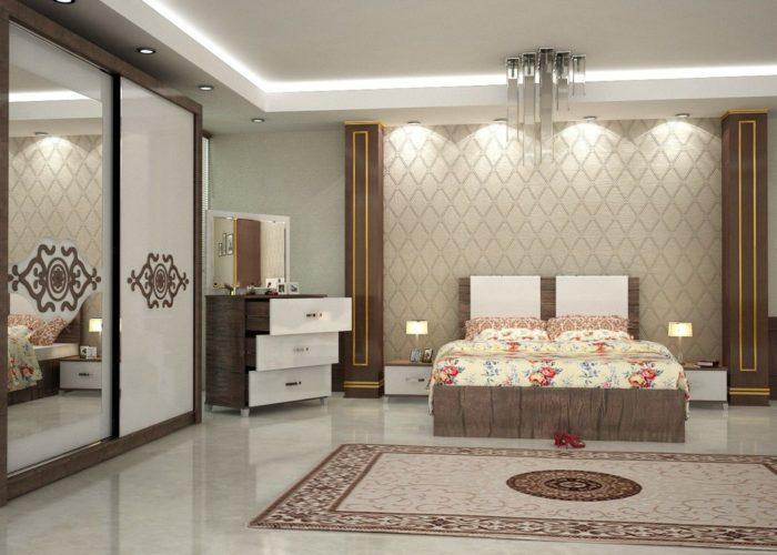 غرفة سيمبل بسيطة مع تصميم السرير المودرن