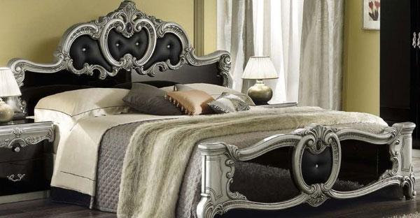 غرفة نوم باللون الاسود والفضي كلاسيكية جميلة