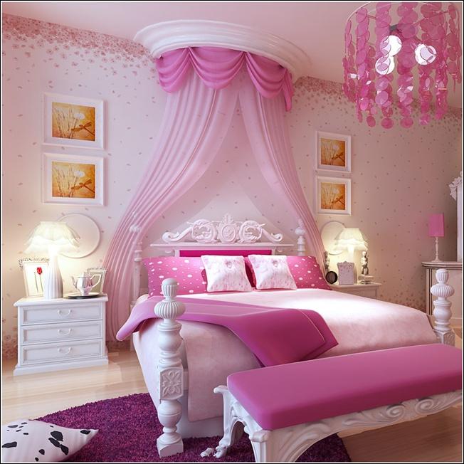 غرفة نوم بتصميم فى منتهى الجمال والشياكة وتتكون من سرير و2 كمودينو فخم جداً وشيك وستارة شيفون رائعة باللون الروز والبينك