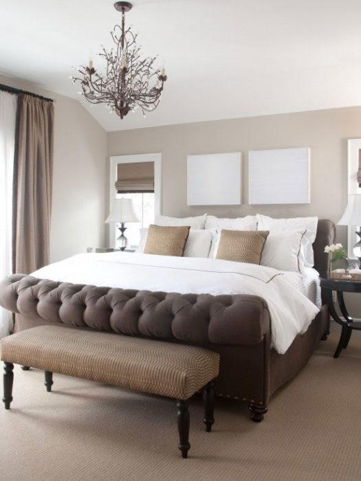 غرفة نوم بتصميم هادئ جداً وشيك يناسب الذوق الراقي