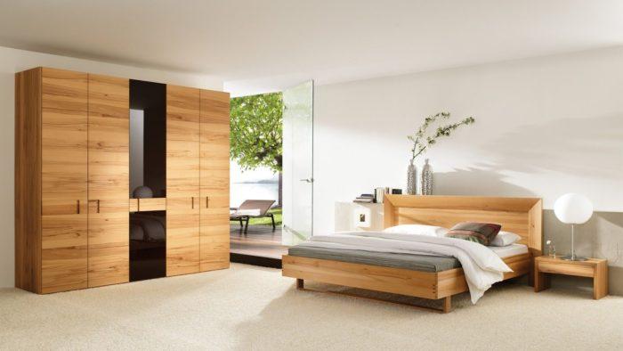 غرفة نوم خشبية كاملة مع 2 كمودينو بتصميم جديد وبسيط