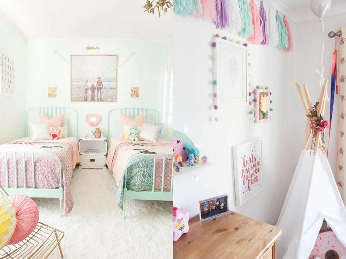غرفة نوم مكونة من سريرين صغيرين وكمودينو بتصميم جديد
