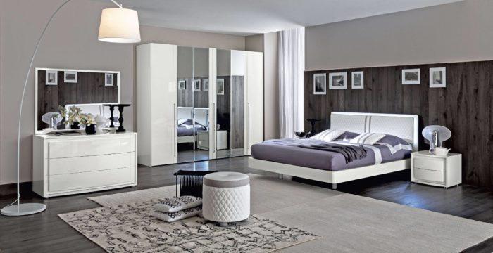 غرفة نوم مودرن باللون الابيض بتصميم عصري جداً