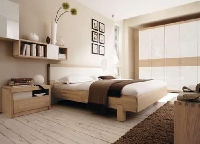 غرفة نوم مودرن باللون الاوف وايت والبيج حلوة جداً