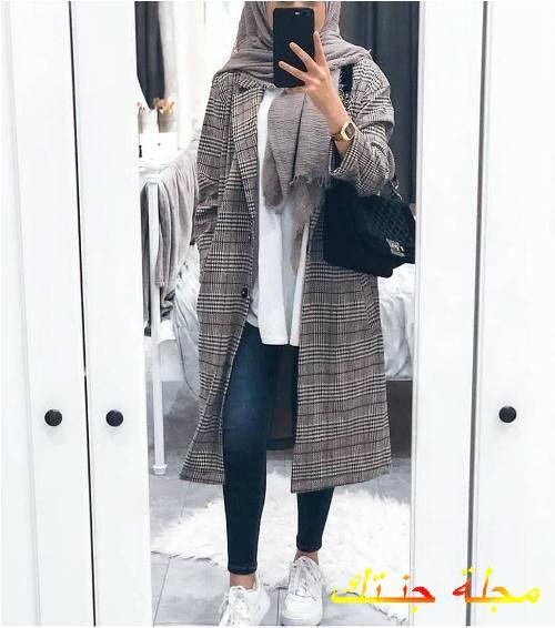 معطف كاروهات شتوي للمحجبات جديد