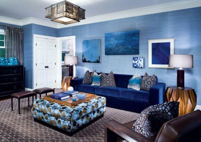 غرف جلوس ذوق أزرق وصاصي رمادي ورمادي