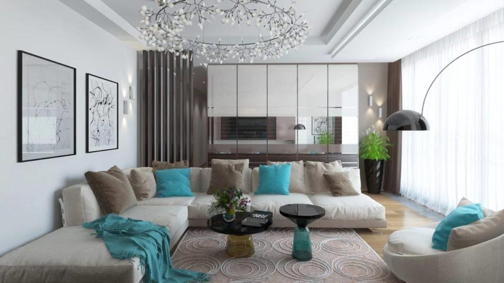 غرفة معيشة باللون الرمادي والتركواز بتصميم عصري جداً 2018