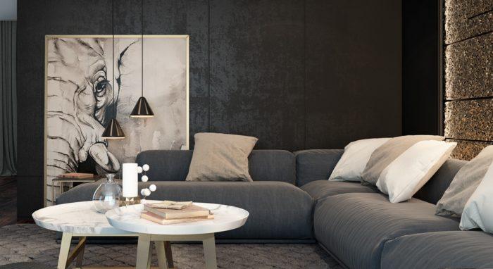 غرفة معيشة بتصميم مميز وفريد من نوعه