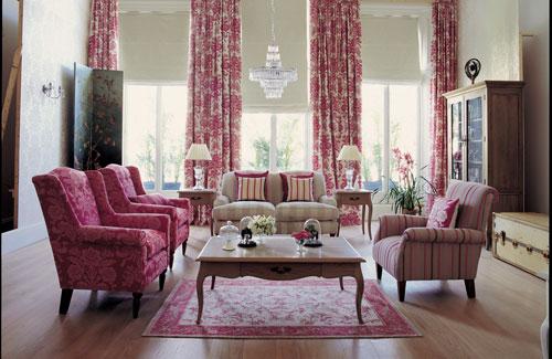 غرفة معيشة جميلة جداً ورائعة باللون الزهري