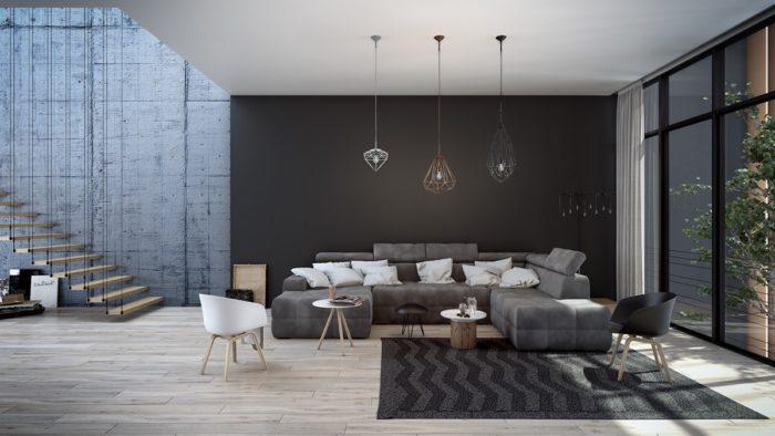 غرفة معيشة سوداء بسيطة وجميلة جداً