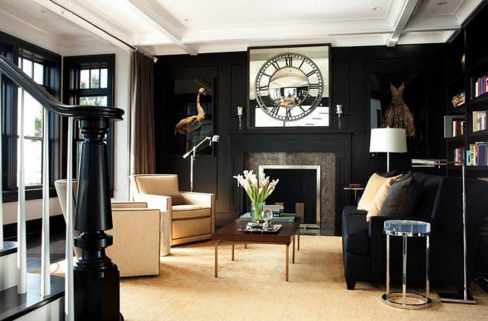 غرفة معيشة سوداء حلوة جداً وشيك