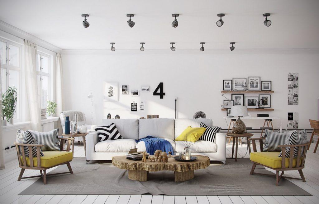 غرفة معيشة مودرن عصرية مكونة من كنبة و2 كرسي وترابيزة خشبية