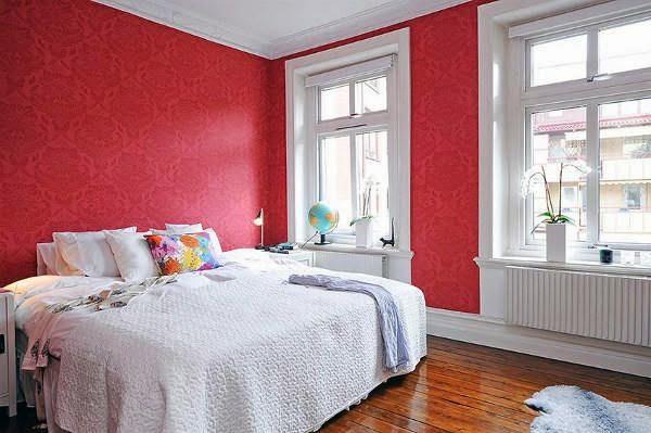 غرفة نوم أبيض فى أحمر رائعة