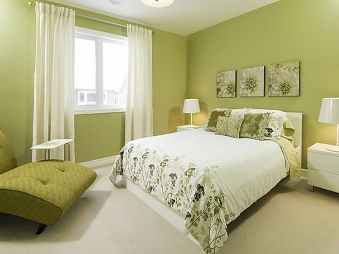 غرفة نوم باللونن الاخضر حلوة جداً ورائعة
