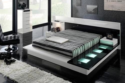 غرفة نوم باللون الابيض والاسود بتصميم عصري جديد