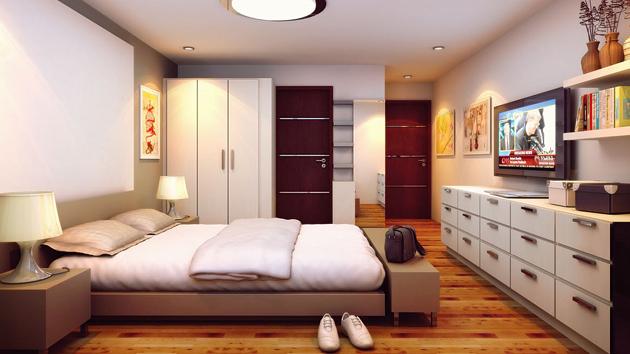غرفة نوم باللون الابيض والبني بتصميم جميل وبسيط