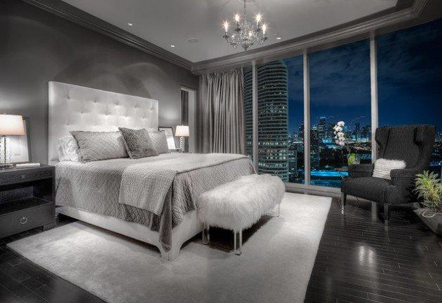 غرفة نوم باللون الابيض والرمادي بتصميم شيك جداً ورائع