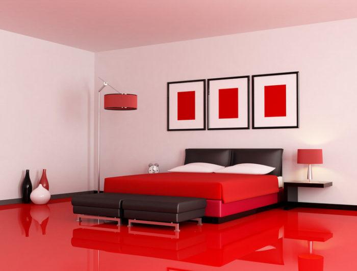 غرفة نوم باللون الاحمر بتصميم هادئ وسيمبل