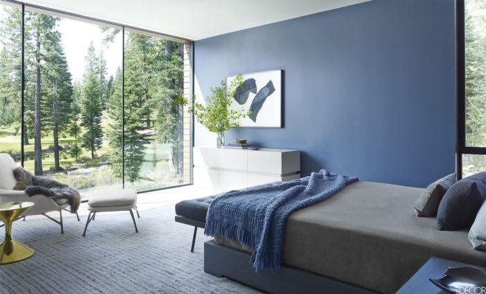 غرفة نوم باللون الازرق والرمادي فى منتهى الجمال