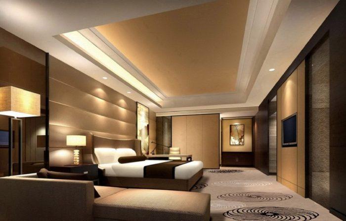 غرفة نوم باللون البني والبيج رائعة وجميلة جداً