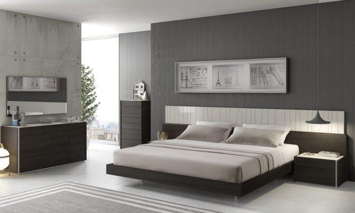 غرفة نوم بتصميم حلو جداً باللون الرمادي