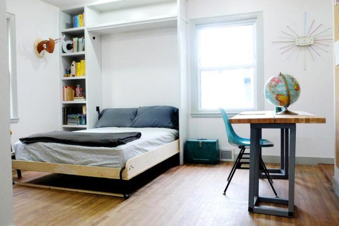 غرفة نوم بتصميم ذكي جداً موفر للمساحة ويناسب الغرف ضيقة المساحة