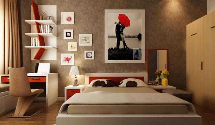 غرفة نوم بتصيم حلو جداً ورائع