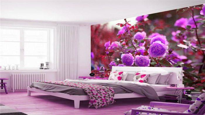 غرفة نوم ثري دي روعة وجميلة باللون الموف