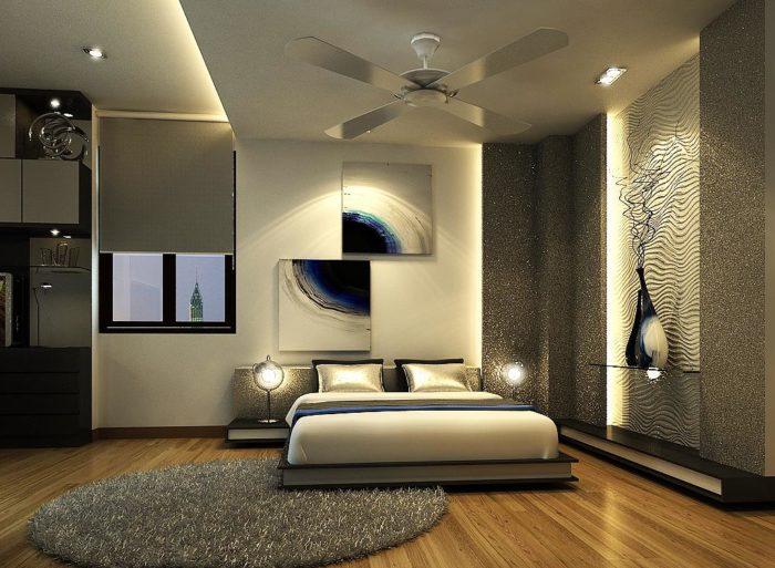 غرفة نوم ثري دي شيك جداً ودهان الحائط بالجليتر اللامع يعطي منظر قمة فى الروعة