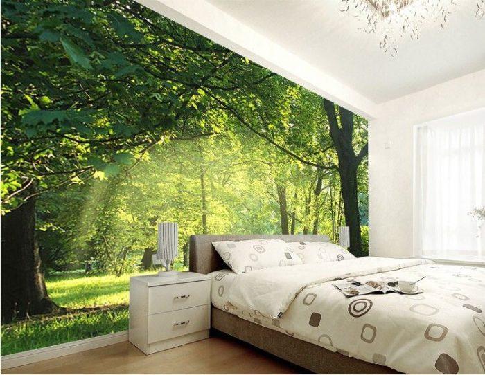غرفة نوم ثري دي مكونة من سرير باللون البيج و2 كمودينو