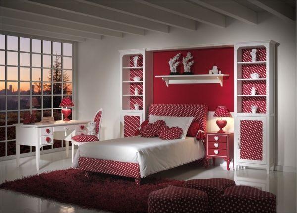 غرفة نوم حمراء فى منتهى الجمال والروعة