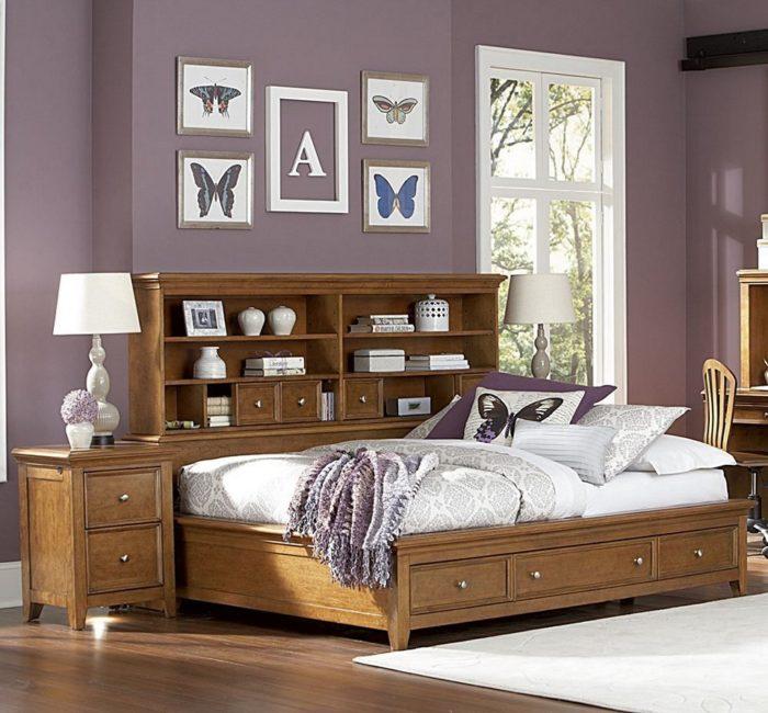 غرفة نوم خشبية بتصميم ذكي جداً وجميل