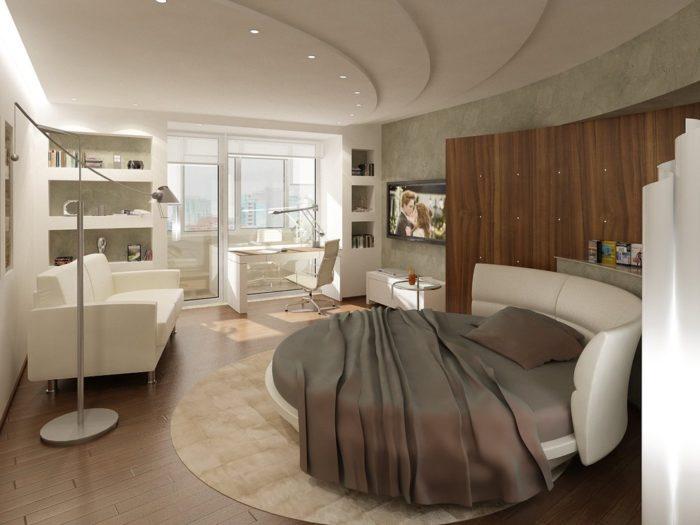 غرفة نوم دائرية باللون بتصميم غاية فى الجمال