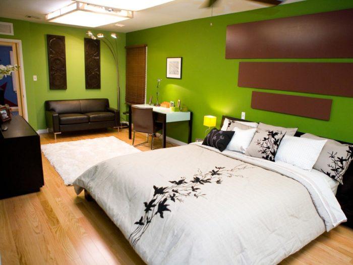 غرفة نوم رائعة وشيك جداً باللون البني الاخضر