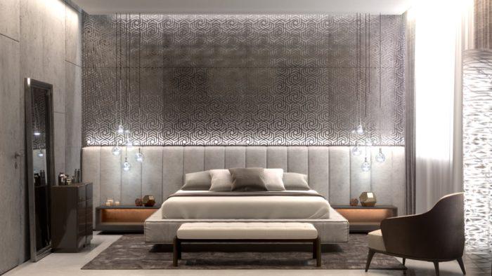غرفة نوم رمادية مودرن عصرية شيك جداً