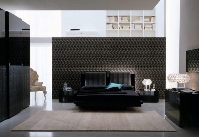 غرفة نوم سوداء حلوة جداً مكونة من سرير ودولاب و2 كمودينو