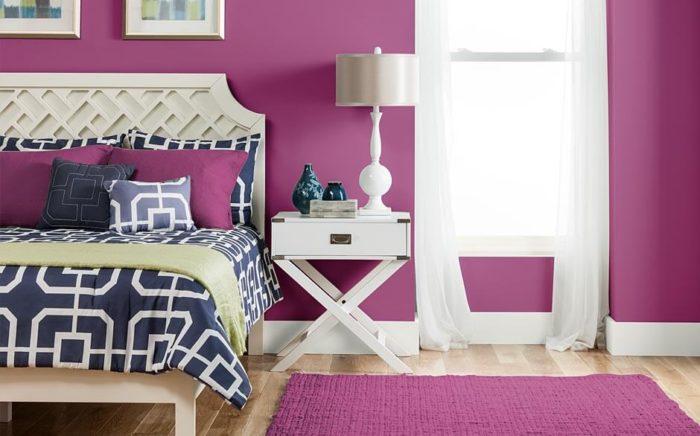غرفة نوم فى منتهى الجمال باللون الفوشيا