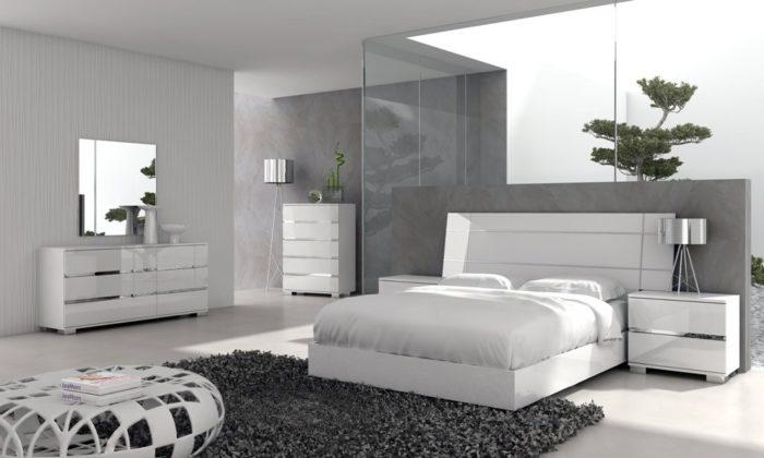 غرفة نوم كاملة باللون الابيض بتصميم مودرن جميل