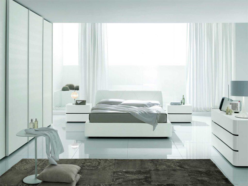 غرفة نوم كاملة بتصميم ناعم وبسيط باللون الابيض